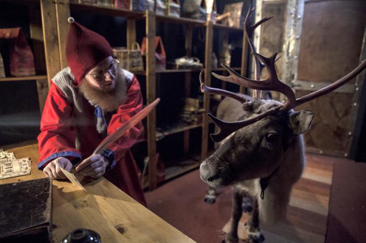 Vertteli -tonttu ja poro Joulupukin Kammarilla Napapiirillä Rovaniemellä