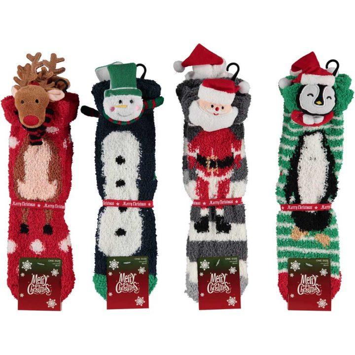 Aikuisten pörröiset sukat, joissa hauska jouluinen hahmo. Koko: One size. Kaikki mallit. Poro, Lumiukko, Joulupukki, Pingviini.