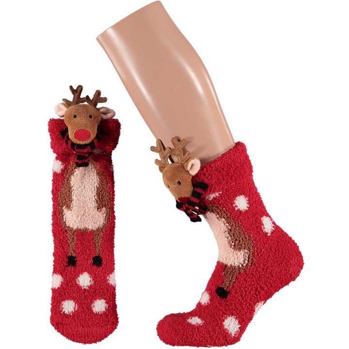 Aikuisten pörröiset sukat, joissa hauska jouluinen hahmo. Koko: One size. Malli: Poro.