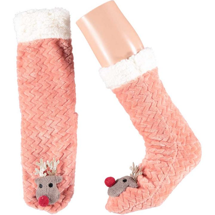 Soft adults christmas socks with cute christmas character on front. One size. Model: Reindeer.