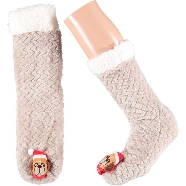 Soft adults christmas socks with cute christmas character on front. One size. Model: Dog.