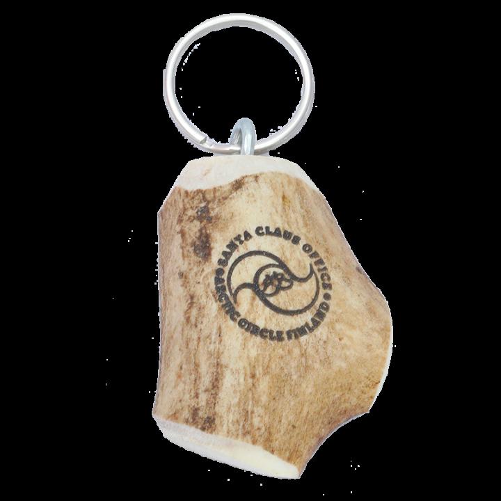 Aitoa lappilaista käsityötä oleva avaimenperä, jossa on Santa Claus Office logo. Avaimenperä on valmistettu poronsarvesta, joten sen muoto voi vaihdella. Koko n.7cm.
