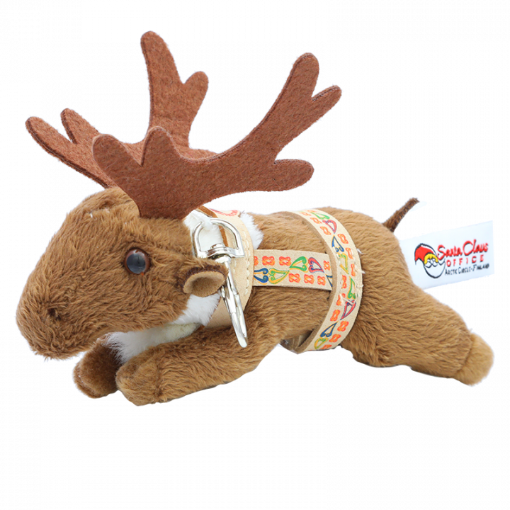 Wonderful reindeer key chain that keeps your keys with you. This little reindeer has a harness with Santa Claus Office logo on it. Length of the reindeer is 15cm. Key chain can also be used as a bag clip. Nice little gift.