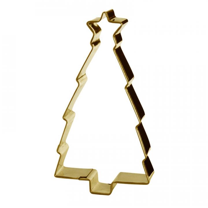 Tällä muotilla voit valmistaa hienoja joulukuusen muotoisia pikkuleipiä ja pipareita. Väri kulta, korkeus 10cm.