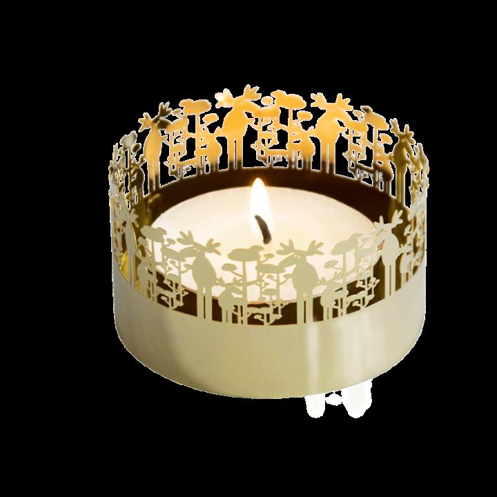 Kaunis kullanvärinen pyöreä tuikkukuppi, jonka reunaa kiertää hirvi-koristekuvio. Kynttilän liekki loistaa kauniisti kuvion lävitse. Tuote toimitetaan pakkauksessa, sisältää 1 kynttilän. Tuikkukupin halkaisija 7,5cm.