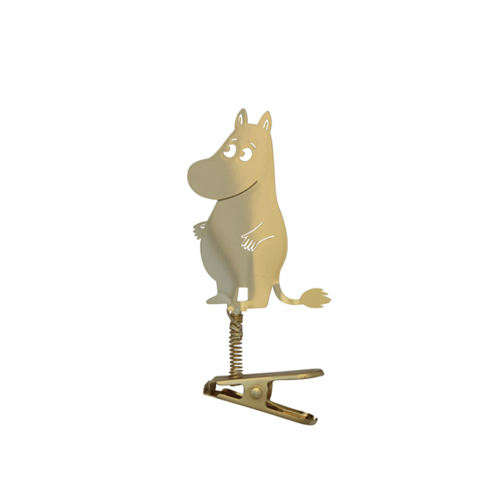 You can decorate your home with this cute moomin clip deco. It is gold-coloured, the height is 8cm.
