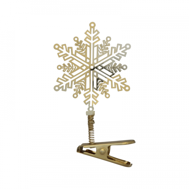 You can decorate your home with this beautiful snowflake clip deco. It is gold-coloured, the height is 8cm.