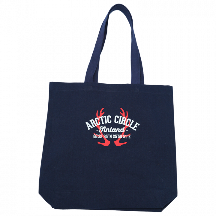 Navy blue, stylish and durable canvas tote bag with Arctic Circle print. Long handles, perfect for shopping! Size 40x39cm. 100% cotton.