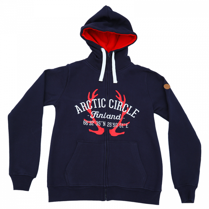 High quality navy blue hoodie with a zip. Reindeer antler print and Arctic Circle Finland embroidery on the front. Material 80% cotton, 20% polyester.