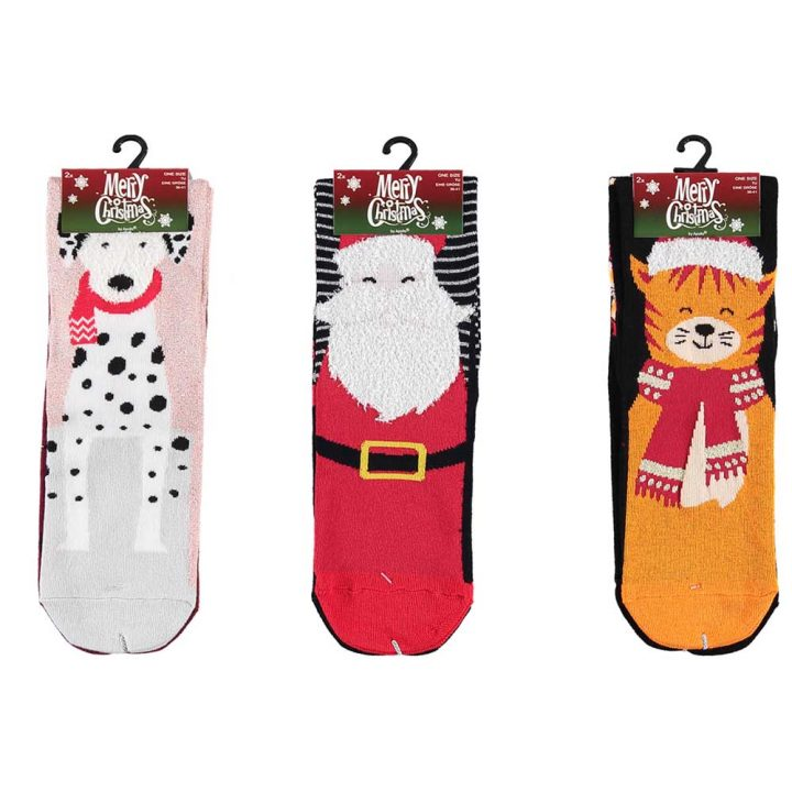 Colourful and fun christmas themed socks, 2 pack. One size..