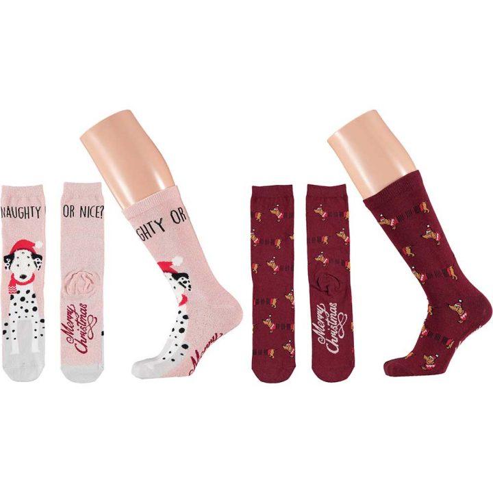 Värikkäät ja hauskat jouluiset sukat kahden parin pakkauksessa. Koko:one size. Malli: Koira.