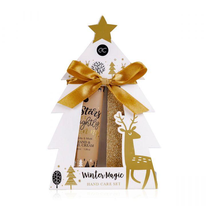 Käsienhoitosetti paperisessa lahjapakkauksessa, sisältää 30 ml käsi- & kynsivoide, kynsiviila, tuoksu: vanilja & myski.