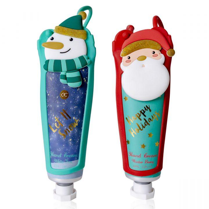 60ml hand & nail cream in tube incl. silicone sleeve, 2 designs/fragrances: Santa/Winterberry, Snowman/White Tea.