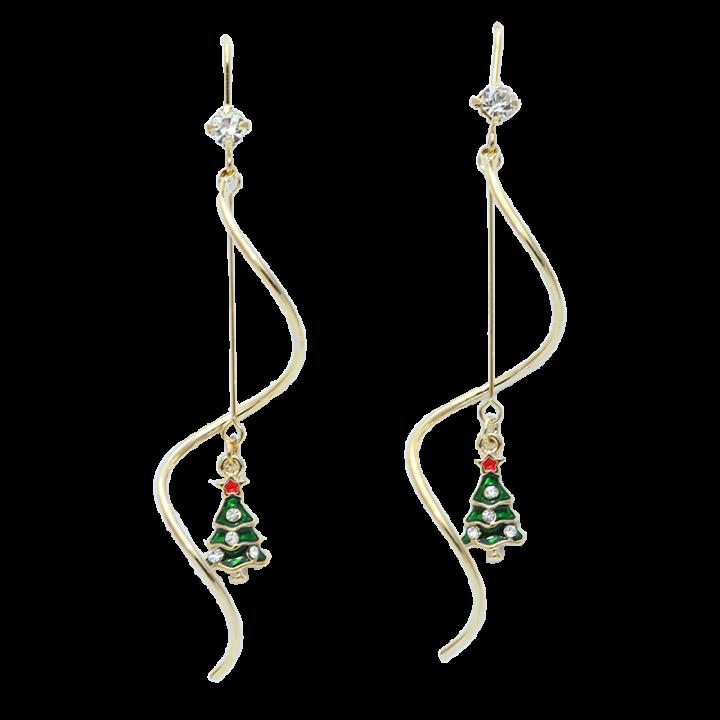 Christmas earrings, Christmas tree, spiral