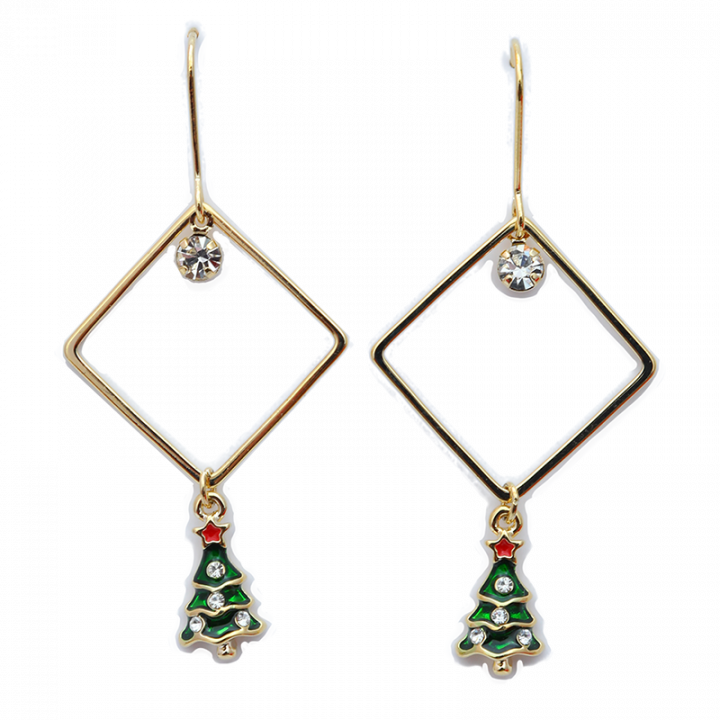 Christmas earrings, Christmas tree, square