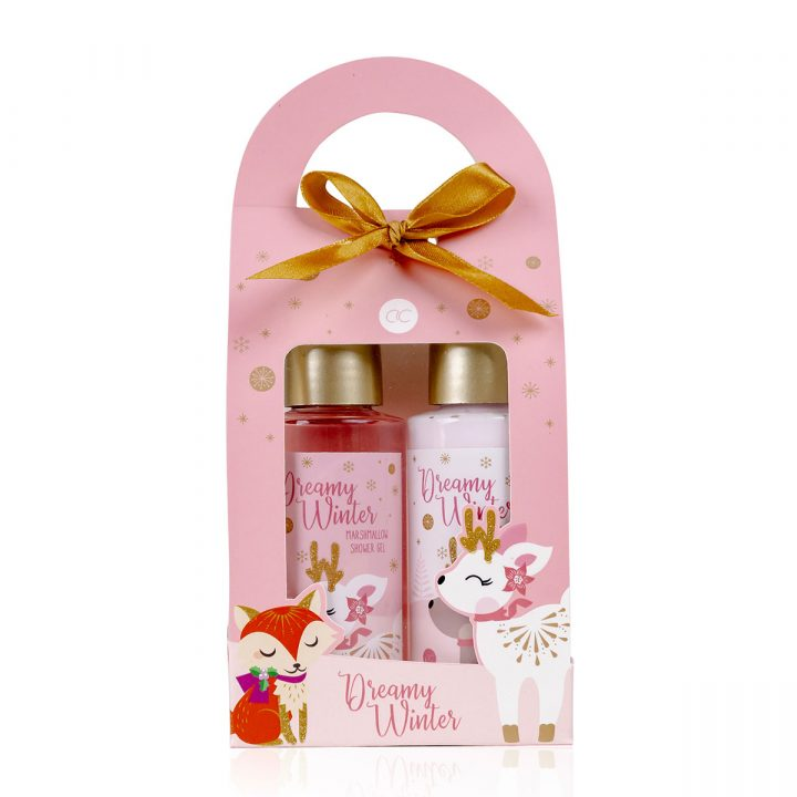 Bath set in paper gift box, incl. 100ml shower gel, 100ml body lotion, fragrance: Marshmallow.