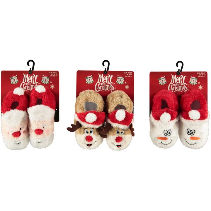 Lasten söpöt, pehmoiset joulutossut. Kaikki mallit: Joulupukki, poro, lumiukko.