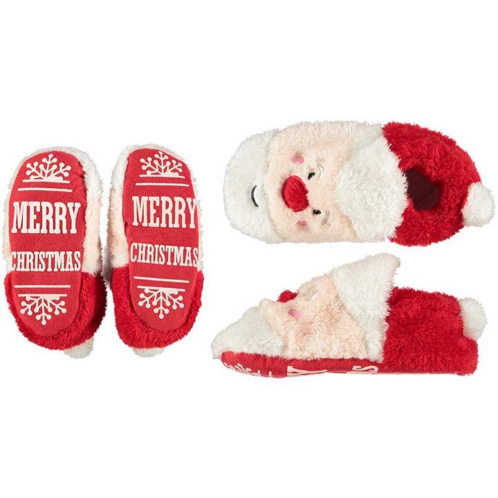 Lasten söpöt, pehmoiset joulutossut. Malli: Joulupukki.
