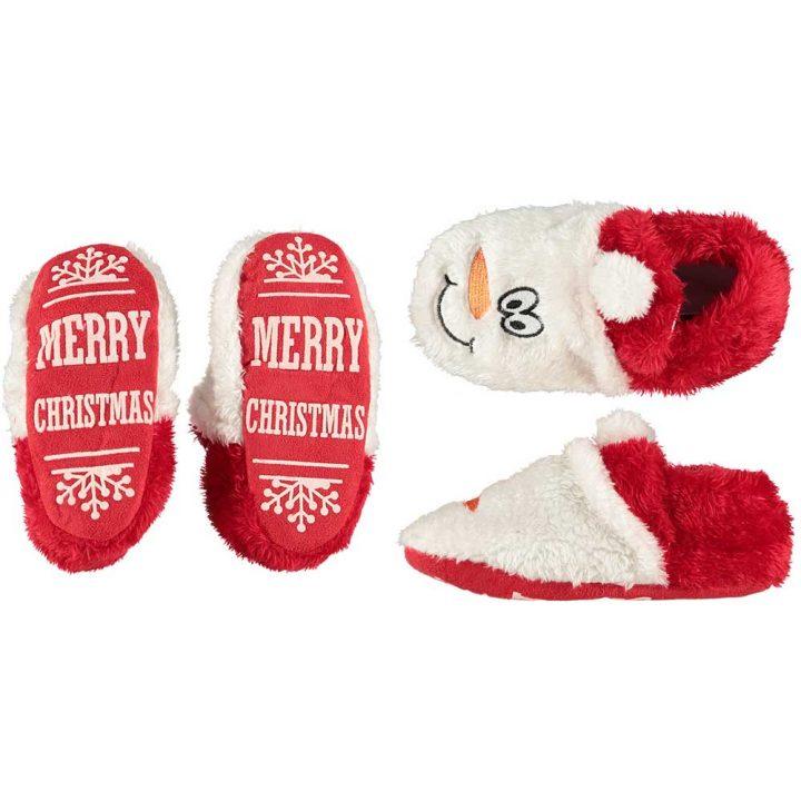 Lasten söpöt, pehmoiset joulutossut. Malli: Lumiukko.