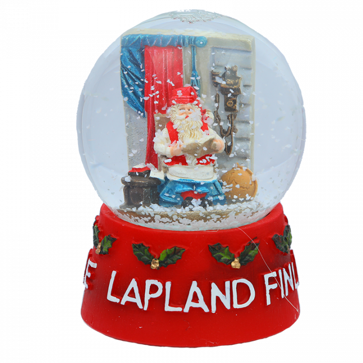 "This snow globe has miniature Santa Claus Office and, of course, Santa Claus in it. The stand has a text: ""Arctic Circle Lapland Finland"". Height of the snow globe is 12cm."