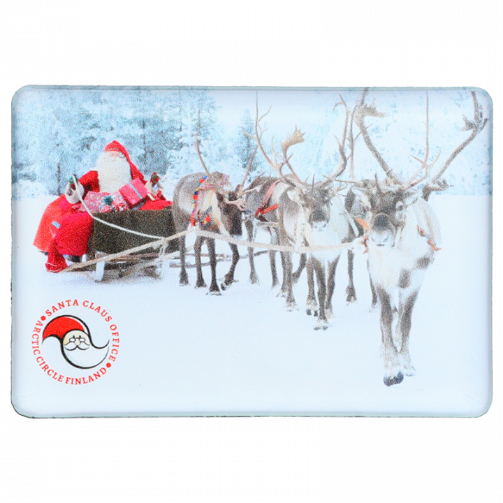Magnet with a photo of Santa Claus reindeer sleigh ride. Size 8x5,5cm.