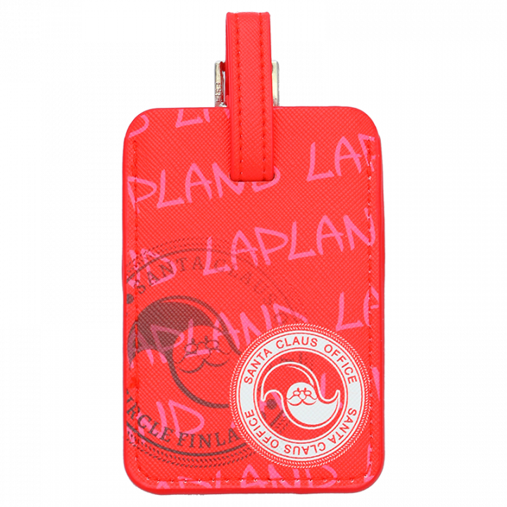 Red luggage tag with Santa Claus Office logo. Space to add your contact details. Size 10x7cm.