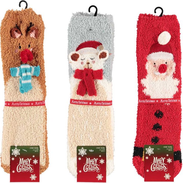 Soft, fluffy Christmas socks for adults. One size. Three different designs.