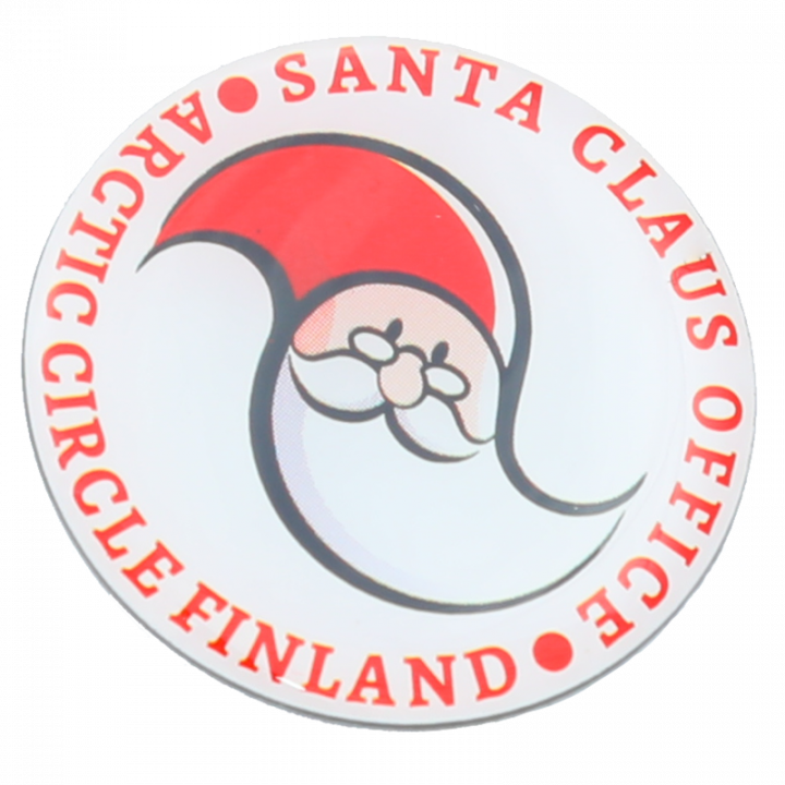 Round pin with Santa Claus Office logo. Diameter 2,5cm.