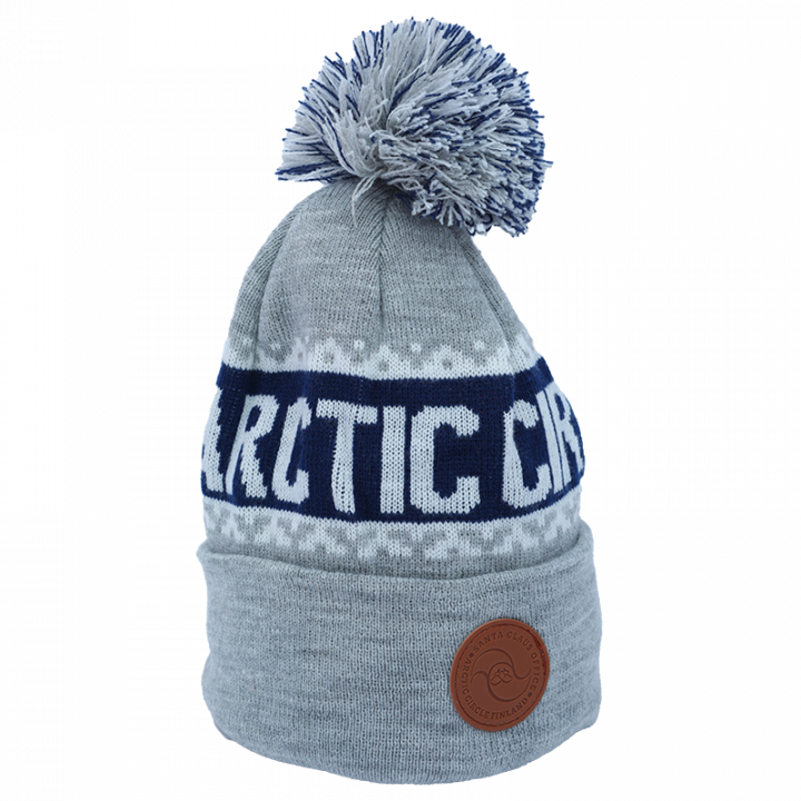 Grey-Blue-white Arctic Circle beanie with leather logo.