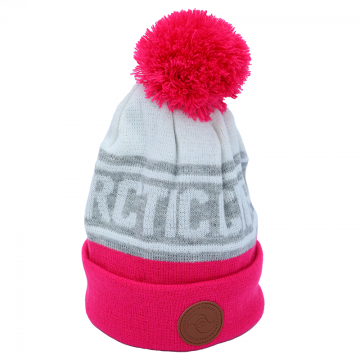 pink-white-grey Arctic Circle beanie with leather logo.