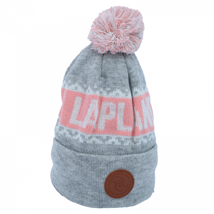 grey-white-light pink Lapland beanie with leather logo.