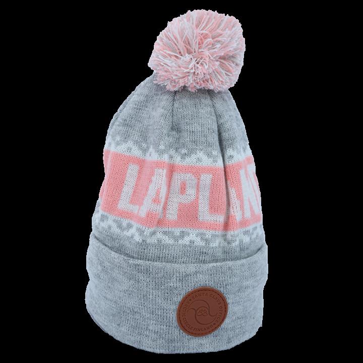 harmaa-valko-vaaleanpunainen Lapland pipo, jossa nahkainen logo.