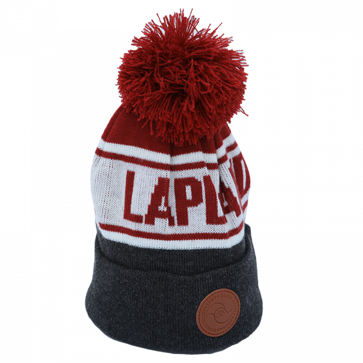 grey-red-white Lapland beanie with leather logo.