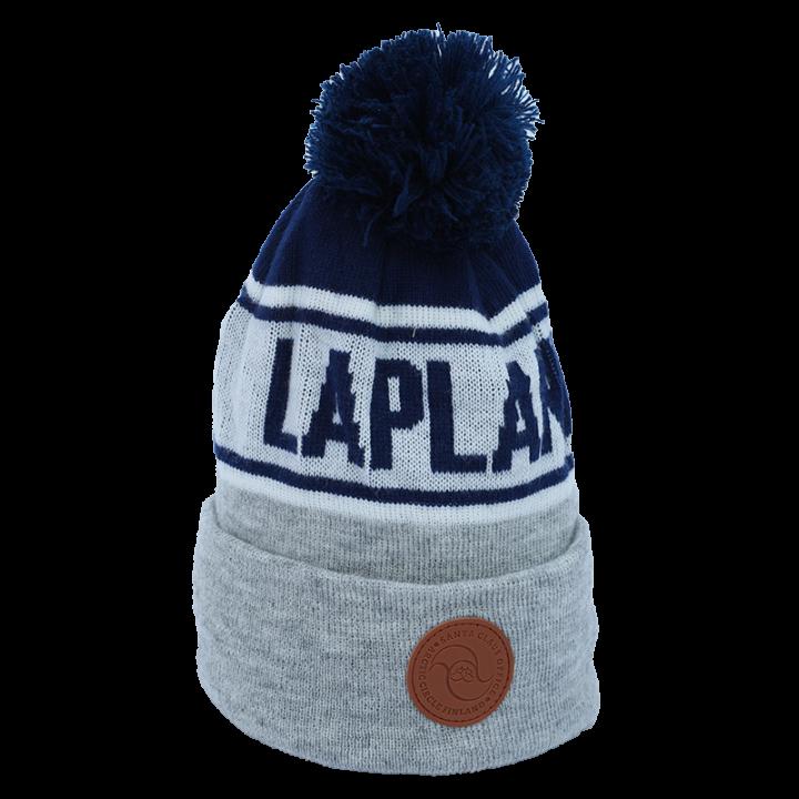 grey-blue-white Lapland beanie with leather logo.