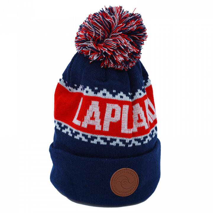 blue-red-white Lapland beanie with leather logo.