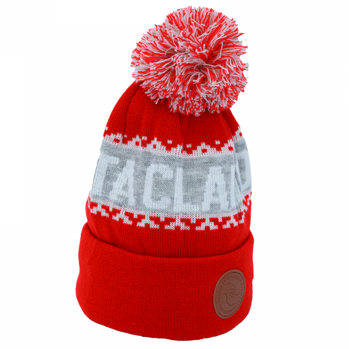 red-white-grey Santa Claus Office beanie with leather logo.