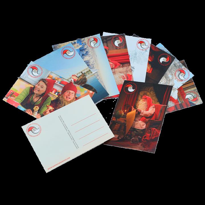 Setti sisältää 10 kappaletta valokuvapostikortteja Joulupukista ja tontuista eri vuodenaikoina. Kortin koko A6, pakkauksessa valikoima eri aiheita. Postikortteja on useita eri malleja