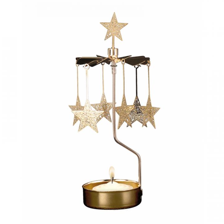 Kullanvärinen kimaltava enkelikello, jossa koristeelliset tähdet pyörivät kynttilän palaessa. Enkelikello on kaunis koriste-esine ja mainio lahjaidea. Tuote on koottava ja se toimitetaan pakkauksessa, sisältää 1 kynttilän. Enkelikellon korkeus n.17cm.