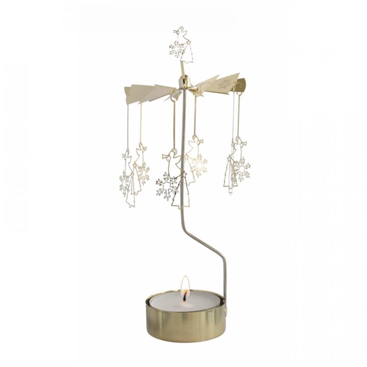Kullanvärinen kimaltava enkelikello, jossa enkelikoristeet pyörivät kynttilän palaessa. Enkelikello on kaunis koriste-esine ja mainio lahjaidea. Tuote on koottava ja se toimitetaan pakkauksessa, sisältää 1 kynttilän. Enkelikellon korkeus n.26cm.