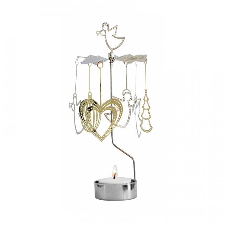 Kullan- ja hopeanvärinen kimaltava enkelikello, jossa joulukoristeet pyörivät kynttilän palaessa. Enkelikello on kaunis koriste-esine ja mainio lahjaidea. Tuote on koottava ja se toimitetaan pakkauksessa, sisältää 1 kynttilän. Enkelikellon korkeus n.26cm.