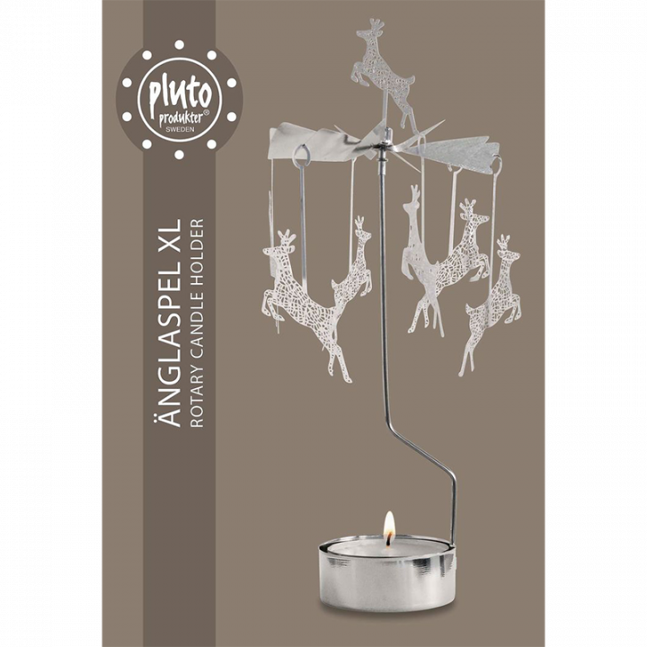 Hopeanvärinen kimaltava enkelikello, jossa porokoristeet pyörivät kynttilän palaessa. Enkelikello on kaunis koriste-esine ja mainio lahjaidea. Tuote on koottava ja se toimitetaan pakkauksessa, sisältää 1 kynttilän. Enkelikellon korkeus n.26cm.