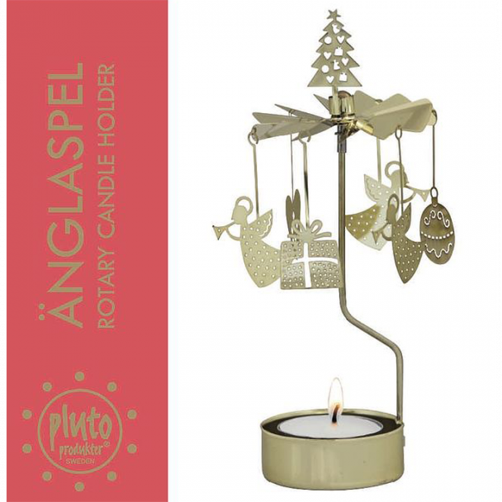 Rotary candle holder creates a cozy atmosphere and perfect as an interior detail. Just light the candle and watch the little metal christmas decoration figures rotate. Candle holder is gold-coloured and comes in a box. 1 tealight candle is included. Height approx.17cm.