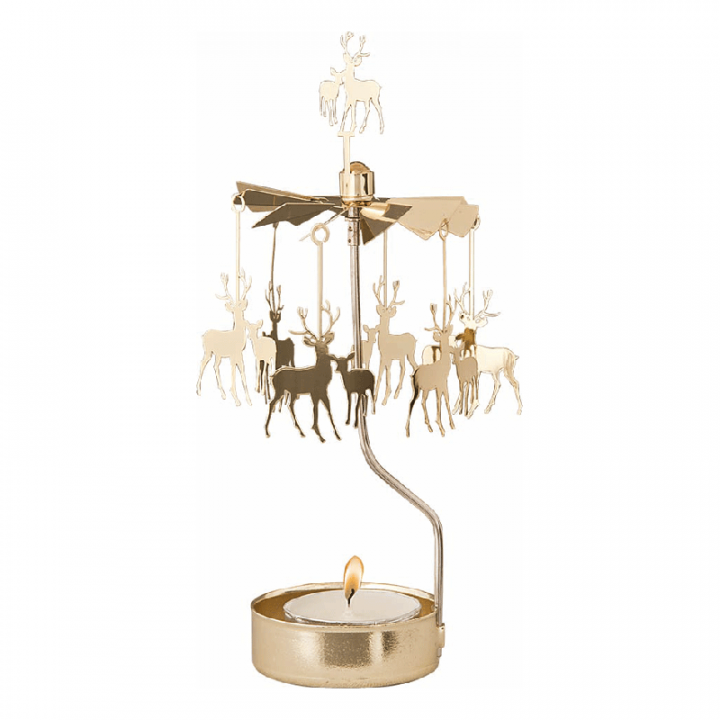 Kullanvärinen kimaltava enkelikello, jossa porokoristeet pyörivät kynttilän palaessa. Enkelikello on kaunis koriste-esine ja mainio lahjaidea. Tuote on koottava ja se toimitetaan pakkauksessa, sisältää 1 kynttilän. Enkelikellon korkeus n.17cm.