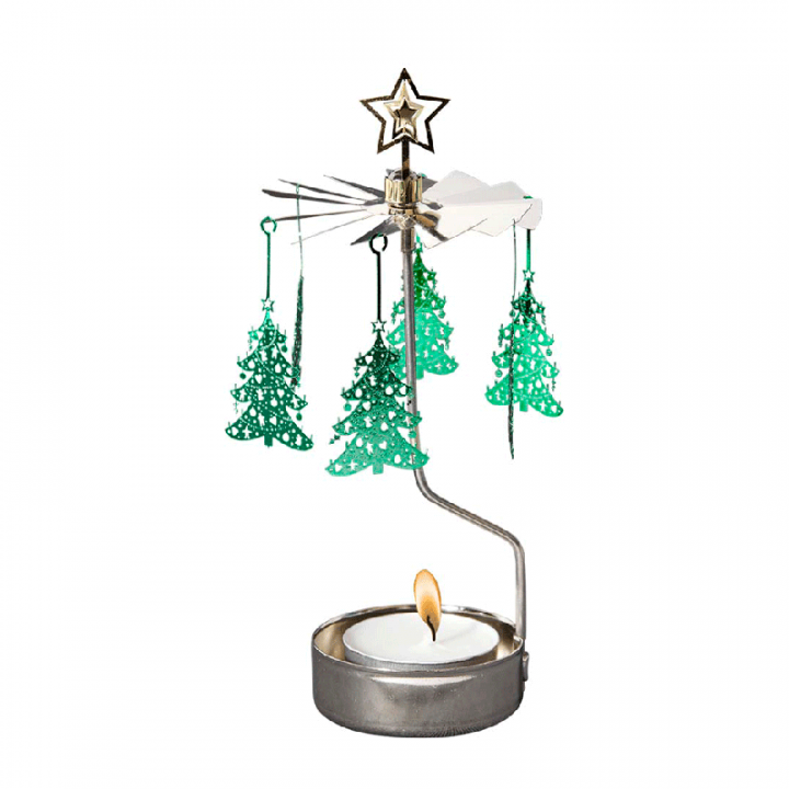 Rotary candle holder creates a cozy atmosphere and perfect as an interior detail. Just light the candle and watch the little metal christmas tree figures rotate. Candle holder is silver-coloured and comes in a box. 1 tealight candle is included. Height approx.17cm.