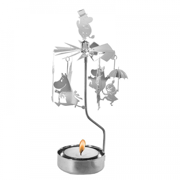 Rotary candle holder creates a cozy atmosphere and perfect as an interior detail. Just light the candle and watch the little metal moomin figures rotate. Candle holder is silver-coloured and comes in a box. 1 tealight candle is included. Height approx.17cm.