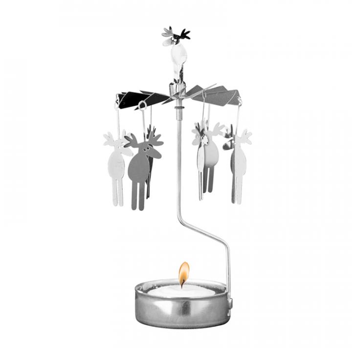 Hopeanvärinen kimaltava enkelikello, jossa söpöt hirvet pyörivät kynttilän palaessa. Enkelikello on kaunis koriste-esine ja mainio lahjaidea. Tuote on koottava ja se toimitetaan pakkauksessa, sisältää 1 kynttilän. Enkelikellon korkeus n.17cm.