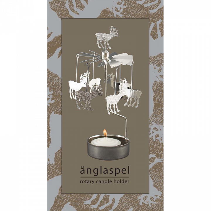 Rotary candle holder creates a cozy atmosphere and perfect as an interior detail. Just light the candle and watch the little metal reindeer figures rotate. Candle holder is silver-coloured and comes in a box. 1 tealight candle is included. Height approx.17cm.