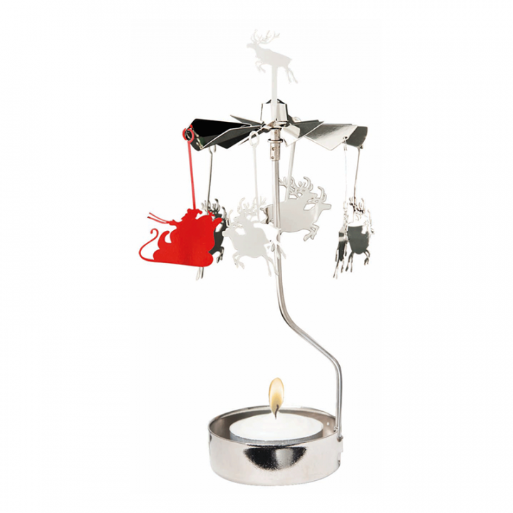 Hopeanvärinen kimaltava enkelikello, jossa porot ja reki pyörivät kynttilän palaessa. Enkelikello on kaunis koriste-esine ja mainio lahjaidea. Tuote on koottava ja se toimitetaan pakkauksessa, sisältää 1 kynttilän. Enkelikellon korkeus n.17cm.