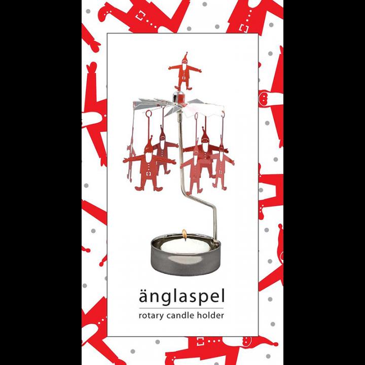 Kullanvärinen kimaltava enkelikello, jossa punaiset joulupukkikoristeet pyörivät kynttilän palaessa. Enkelikello on kaunis koriste-esine ja mainio lahjaidea. Tuote on koottava ja se toimitetaan pakkauksessa, sisältää 1 kynttilän. Enkelikellon korkeus n.17cm.