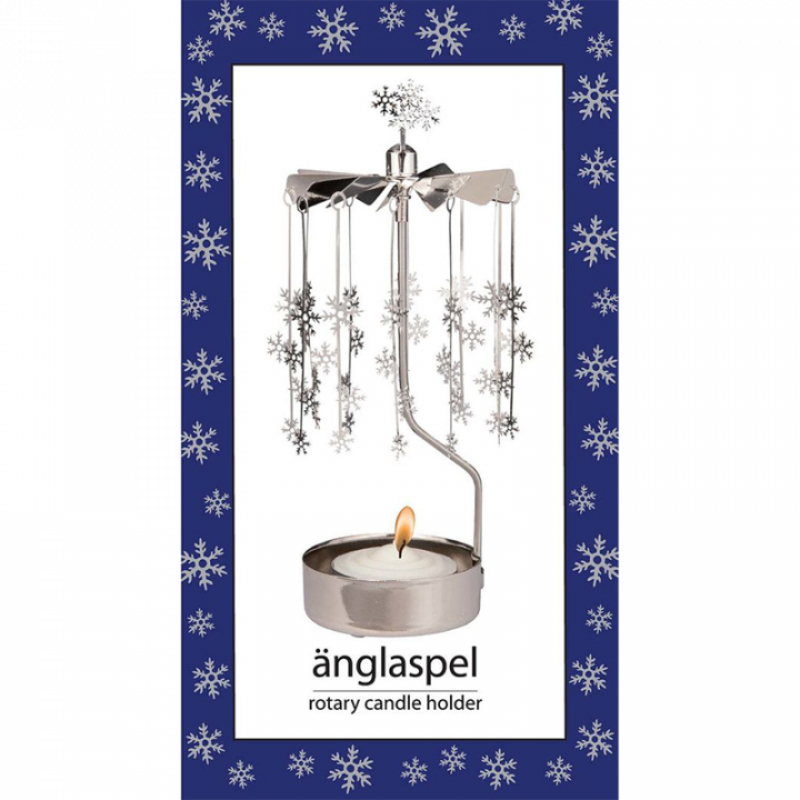 Hopeanvärinen kimaltava enkelikello, jossa pienet lumihiutaleet pyörivät kynttilän palaessa. Enkelikello on kaunis koriste-esine ja mainio lahjaidea. Tuote on koottava ja se toimitetaan pakkauksessa, sisältää 1 kynttilän. Enkelikellon korkeus n.17cm.
